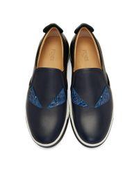 Fendi Black And Navy Bag Bugs Slip-on Sneakers for men