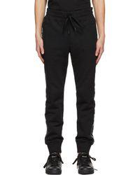 メンズ Versace Jeans ブラック Cuffed ロゴ ラウンジ パンツ Black