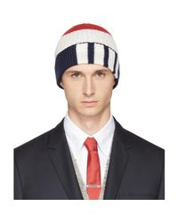 Thom Browne - Blue Tricolor Rib Cashmere Funmix Four Bar Beanie for Men - Lyst