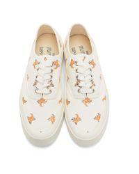 メンズ Maison Kitsuné ホワイト オールオーバー Fox Head スニーカー White