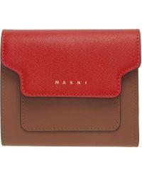 Marni レッド & ブラウン フラップ ウォレット Multicolor