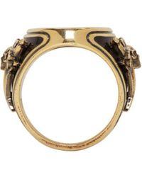 Alexander McQueen - Metallic Gold Enamel Signet Ring for Men - Lyst