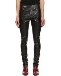 メンズ Saint Laurent ブラック オイリー コート スキニー ジーンズ Black