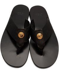 メンズ Versace ブラック Greca ビーチ サンダル Black