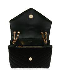 Saint Laurent - Green Small Loulou Velvet Chain Bag - Lyst