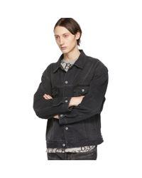 メンズ Balenciaga ブラック デニム ウォッシュ ロゴ ジャケット Black