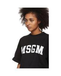 MSGM ブラック カレッジ ロゴ T シャツ Black