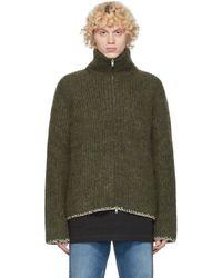 メンズ Maison Margiela グリーン ウール 5 ゲージ ジップアップ セーター Green