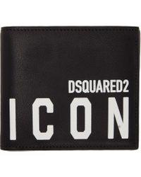 メンズ DSquared² ブラック Icon バイフォールド ウォレット Black
