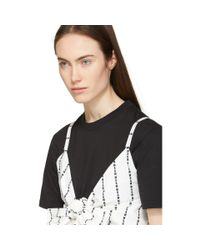 MSGM Black And White Logo Stripe Bow T-shirt