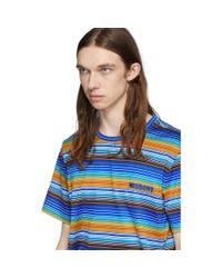 メンズ Missoni マルチカラー ストライプ ロゴ T シャツ Blue