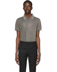 メンズ Saint Laurent ブラック メタリック ポロ シャツ Black