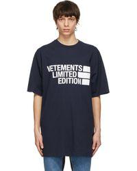 メンズ Vetements ネイビー Limited Edition ロゴ T シャツ Blue