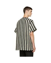 KTZ - Black & Beige Striped Logo T-shirt for Men - Lyst