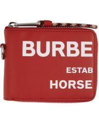 メンズ Burberry レッド Horseferry Print ジップアラウンド ウォレット Red