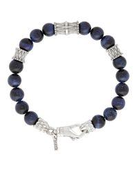 Emanuele Bicocchi Blue Beaded Bracelet for men
