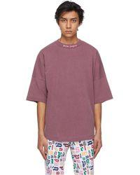 メンズ Palm Angels パープル ロゴ T シャツ Purple