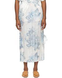 Acne ホワイト & ブルー フローラル プリーツ スカート Blue