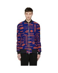 KENZO Blue And Orange Hyper Zipped Bomber Jacket for men