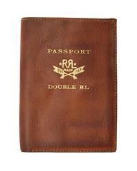 メンズ RRL ブラウン レザー パスポート ホルダー Brown