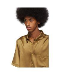 メンズ Sies Marjan タン クリンクル サテン Rooney シャツ Multicolor