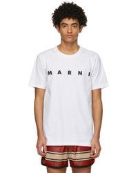メンズ Marni ホワイト ロゴ T シャツ White