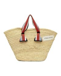 Miu Miu - Multicolor Tan Ribbon Handle Straw Bag - Lyst