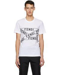 メンズ Fendi ホワイト ロゴ T シャツ White