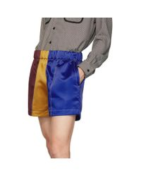 Short de boxe en satin bourgogne et bleu marine Daniel W. Fletcher pour homme en coloris Multicolor