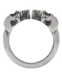 Alexander McQueen - Metallic Silver Twin Skull Ring for Men - Lyst
