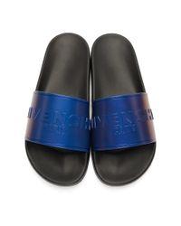 メンズ Givenchy ブラック And ブルー フラット スライド プール スライド Blue