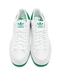 メンズ Adidas Originals ホワイト And グリーン Rod Laver スニーカー Green