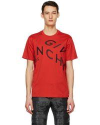 メンズ Givenchy レッド Refracted ロゴ T シャツ Red