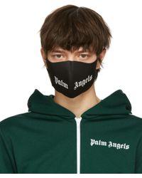 メンズ Palm Angels ブラック ロゴ マスク Green