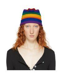Marc Jacobs Blue Multicolor Redux Grunge Rainbow Beanie