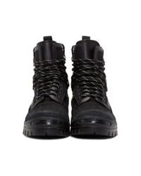 DSquared² Black Canvas Hiker Boots for men