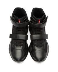 メンズ Prada ブラック レザー And メッシュ ストラップ ハイトップ スニーカー Black