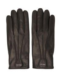 Gants en cuir dagneau noirs Prada pour homme en coloris Black