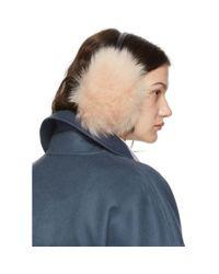 Cache-oreilles en fourrure rose Yves Salomon en coloris Blue