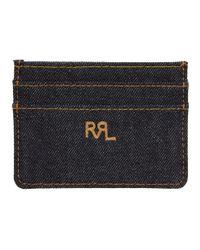 メンズ RRL インディゴ デニム カード ケース Blue