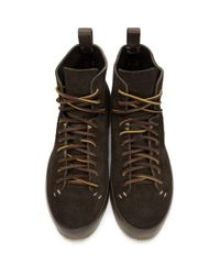 Feit Brown Suede Hand Sewn High Sneakers for men