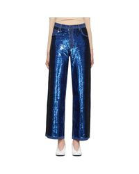 Ashish Blue Navy Sequin Jeans