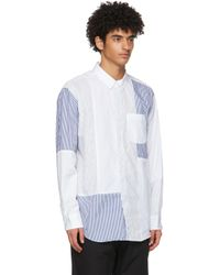 メンズ Engineered Garments ホワイト 水玉 & ストライプ シャツ White