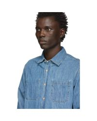 メンズ Saturdays NYC インディゴ デニム Kenmare シャツ Blue
