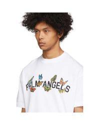 メンズ Palm Angels ホワイト バタフライ コラージュ T シャツ White