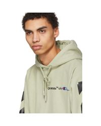 Off-White c/o Virgil Abloh Natural Beige And Black Champion Edition Logo Hoodie for men