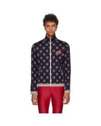 Gucci Blue Navy Checkered Track Jacket for men