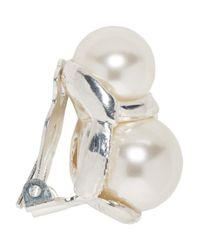 Sophie Buhai Metallic Silver Double Pearl Earrings