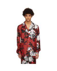 メンズ Dolce & Gabbana レッド カメリア プリント パジャマ シャツ Red