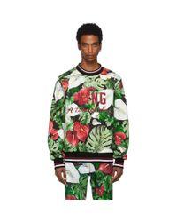 メンズ Dolce & Gabbana グリーン And ブラック アンスリウム スウェットシャツ Green
